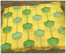 Kurti Material Blouse Fabric by meter Green Embroidery on Yellow Chanderi Silk