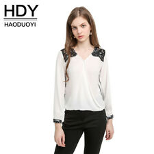 Hdy Haoduoyi New Blouse Women Fashion Casual Tops Lace Patchwork Chiffon Blouse1