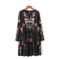 Autumn Fashion Floral Embroidered Dress Women Round Neck Long Sleeve Vintage Bla