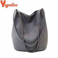 Yogodlns Women Leather Handbags Black Bucket Shoulder Bags Ladies Cross Body Bag