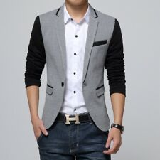 New Slim Fit Casual Jacket Cotton Men Blazer Jacket Single Button Gray Mens Suit