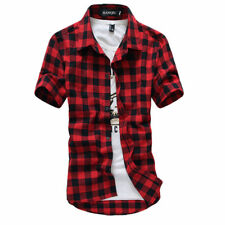 Red And Black Plaid Shirt Men Shirts 2017 New Summer Fashion Chemise Homme Mens1