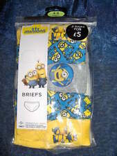 5 PAIR PACK BOYS MINIONS 'DISPICABLE ME'  BRIEFS  -AGE  4/5 YEARS