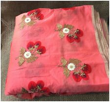 Kurti Material Blouse Fabric by meter Red Blue Embroidery on Peach Pink Chanderi