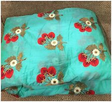 Kurti Material Blouse Fabric by meter Red Blue Embroidery on Sea Green Chanderi