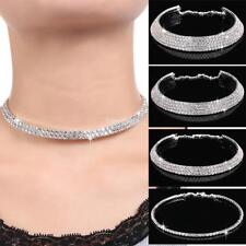 Strass argent Collier Choker Wedding Party chaîne Neuve IS
