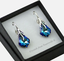 925 Silver Earrings (Leaf) 16mm Baroque *BERMUDA BLUE* Crystals from Swarovski®