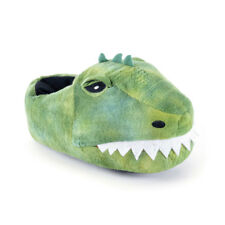 KIDS UNISEX PLUSH NOVELTY GREEN 3D DINOSAUR HEAD SLIPPERS XMAS GIFT UK 9-3 NEW