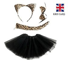 LEOPARD TUTU COSTUME Ladies Kids Girls Halloween Wild Cat Animal Fancy Dress UK
