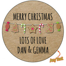 CHRISTMAS STOCKING CANDY Personalised Stickers Wrapping Label Seal Chic  520