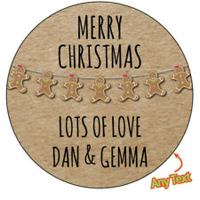 CHRISTMAS GINGER BREAD MAN Personalised Stickers Wrapping Gift Label Seal 525