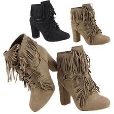 WOMENS LADIES CASUAL HIGH BLOCK HEEL LACE UP TASSEL ANKLE BOOTS SHOES SIZE 3-8
