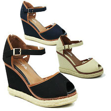 WOMENS LADIES PLATFORM WEDGE HEEL PEEP TOE ANKLE STRAP ESPADRILLES SANDALS 3-8