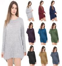 New ladies women long sleeve baggy shirt top tunic dress batwing one size 8-26