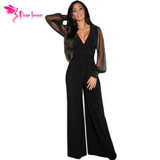 Dear-Lover Long Black Rompers Womens Jumpsuit Winter Autumn Party V-Neck Embelli