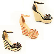 WOMENS LADIES PLATFORM ANKLE STRAP WEDGE HEEL SANDALS ESPADRILLES SHOES SIZE 3-8