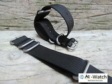 Black Zulu NATO G10 Grey Nylon, Divers, MOD Watch Strap Band  18,20,22,24mm