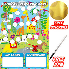 Reusable Behaviour jungle Reward Chart free Stickers & pen, MAGNETIC
