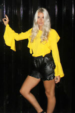 Yellow Long Sleeve Frill Top with Elasticated Waist and Bell Sleeves