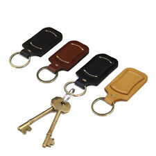 Leather Key Fob with Tag Leather Keyring Keychain Personalised Key Holder