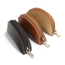 Genuine Leather Coin Purse Leather Pouch Mini Wallet Card Key Holder with Zipper