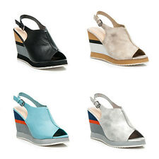 WOMENS LADIES PLATFORM HIGH WEDGE HEEL PEEP TOE SLINGBACK SANDALS SHOES SIZE 3-8