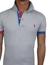 POLO T-SHIRT HOMME DIAMANT GRIS BLEU JERSEY STRETCH COTON SLIM FIT MOULANT