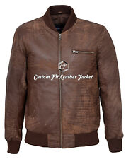 Mens Street Classic Bomber Jacket Brown 100% REAL LEATHER Bomber Jacket 275