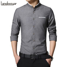 New Fashion Casual Men Shirt Long Sleeve Mandarin Collar Slim Fit Shirt Men Kore