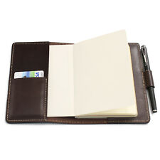 A6 Leather Notebook Cover with Card Holder and Pen Loop Journal Planner Cover