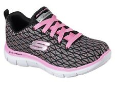 Skechers Girls Lace Skech Appeal Happy Steps BKMT Trainer-100%Postive Review