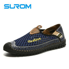 Surom 2017 Summer Casual Shoes Men Breathable Leather Mesh Fashion Slip On Drivi