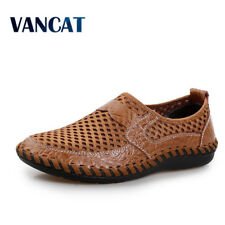 2017 Summer Breathable Mesh Shoes Mens Casual Shoes Genuine Leather Slip On Fash
