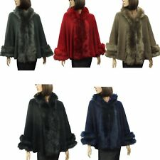 Ladies Hooded Shawl Poncho Women Celebrity Style Thick Faux Fur Trim Cape