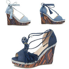 WOMENS LADIES PLATFORM WEDGE HEEL TIE UP TASSEL PEEP TOE SANDALS ESPADRILLES 3-8