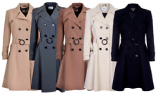 Women's New Double Breasted Coat Fit and Flare Ladies Mac Trench Winter Jacket
