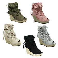 WOMENS LADIES WEDGE HEEL PEEP TOE TASSEL ANKLE SANDALS ESPADRILLES SHOES SIZE 3-