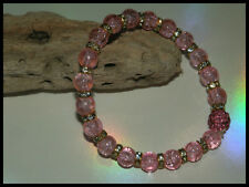 8mm PALE PINK CRACKLE GLASS BEADED GOLD STRETCH CHARM BRACELETS MIXED SIZE CHARM