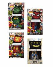 Marvel DC Comic Book Superheroes Ceramic Mug & Hero Themed Socks Gift Set