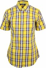 Relco Womens Yellow Blue Tartan Check Short Sleeve Button Down Collar Shirt