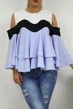 Floaty Blue Striped Layered Wave Top with Cold Shoulder Detail