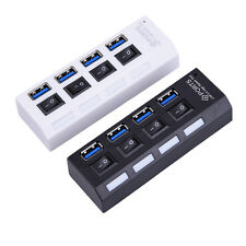 4/7 Port USB 3.0 Hub On/Off Switches with AC Power Adapter Cable for PC Laptop