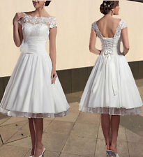 New High Neck Short Puffy Wedding White/Ivory Dress/Gown Size 6-8-10-12-14 -16++