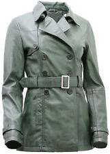 Women's 3/4 Green Ladies Lamb Nappa Leather Trench Coat