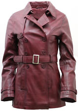Women's 3/4 Burgundy Ladies Lamb Nappa Leather Trench Coat