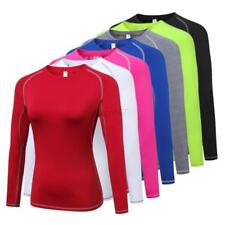 Women Lady Sports T-Shirt Compression Quick Dry Fitness Jogging Long Sleeve Tops