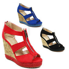 WOMENS LADIES PLATFORM WEDGE HEEL CUT OUT PEEP TOE ESPADRILLES SANDALS SIZE 3-8