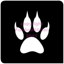 FG057 TIGER PAW STENCIL for Glitter and Ink Tattoo's in packs of 5, 20 & 50