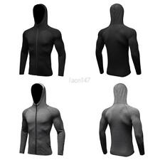 Mens Male Long Sleeve Quick Dry Hooded Zipper Jacket Sports Fitness Coat Clothes