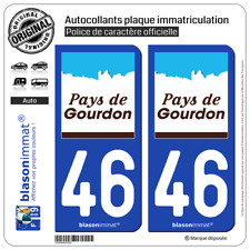 2 Stickers autocollant plaque immatriculation : 46 Gourdon - Pays